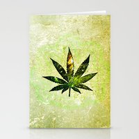 marijuana Stationery Cards featuring Marijuana Leaf - Design 3 by Spooky Dooky