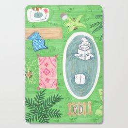 Green Tiled Bath drawing by Amanda Laurel Atkins Cutting Board