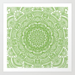 Olive Lime Green Mandala Detailed Ethnic Tribal Pattern Art Print