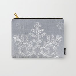 Typographic Snowflake Greetings - Silver Grey Carry-All Pouch
