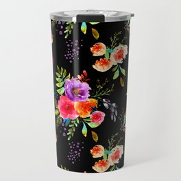 Bright Watercolor Flowers on Black | Neon Floral | Renee Davis Travel Mug