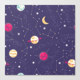 Universe with planets and stars seamless pattern, cosmos starry night sky 006 Canvas Print