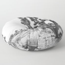 joshua tree bw Floor Pillow