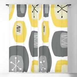 Mid Century Modern Oblongs Yellow Gray Blackout Curtain