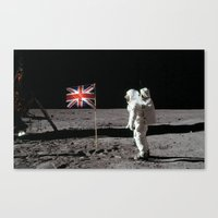 british flag Canvas Prints featuring British Flag on the Moon by Dan Levin's Objects of Curiosity