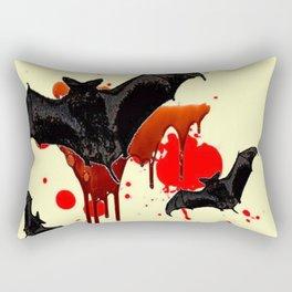 DECORATIVE FLYING BLACK BATS & HALLOWEEN BLOODY ART Rectangular Pillow