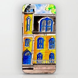 Ink and watercolour Victorian house iPhone Skin