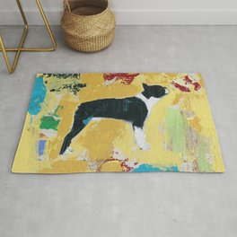Boston Terrier Painting Art Rug