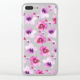 Hand painted blush pink lavender watercolor floral Clear iPhone Case