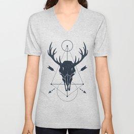 Modern Geometric Deer Skull Hunting Hunters Unisex V-Neck