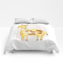 Animal tales - Giraffe in watercolor Comforters