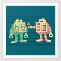 robots Art Prints featuring Robots by Sydney's Doodles