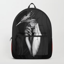 Kingfisher 1b.  White on black  background-(Red eyes series) Backpack
