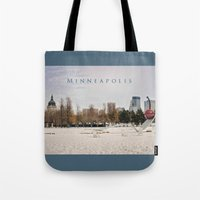 minneapolis Tote Bags featuring Minneapolis by Kimberley Britt