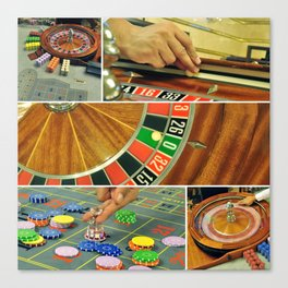 casino roulette table game collage croupier Canvas Print