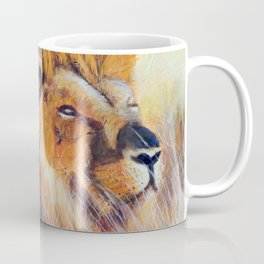 Lion sun bathing | Bain de soleil Lion Coffee Mug