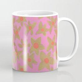 Retro Flowers on Pink Coffee Mug