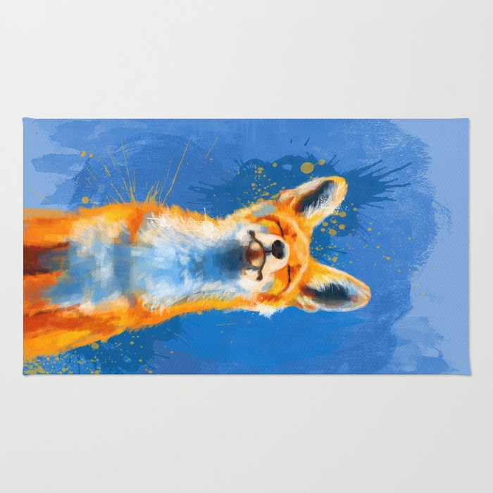 Happy Fox on blue background, inspirational animal art Rug