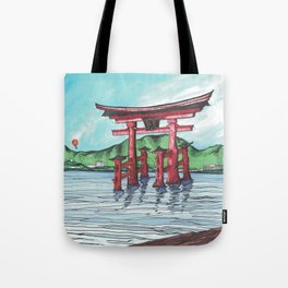 Balloon over Torii Tote Bag