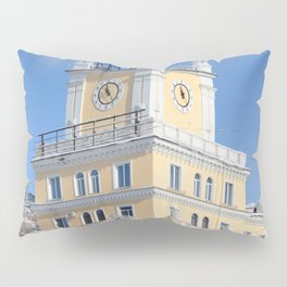 clock on the tower of the building Pillow Sham