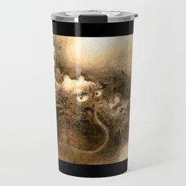 Dragon and wave,Tiger among bamboo by Kano Tannyu (1602-1674) Travel Mug