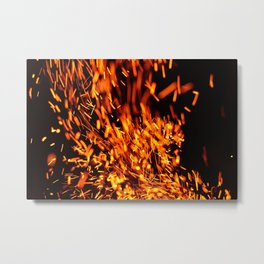 Fire on black Metal Print