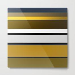 Golden Stripes Pattern Metal Print