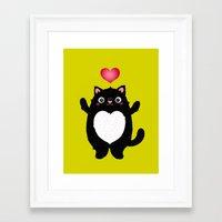 fat Framed Art Prints featuring Fat Cat by Anna Alekseeva kostolom3000