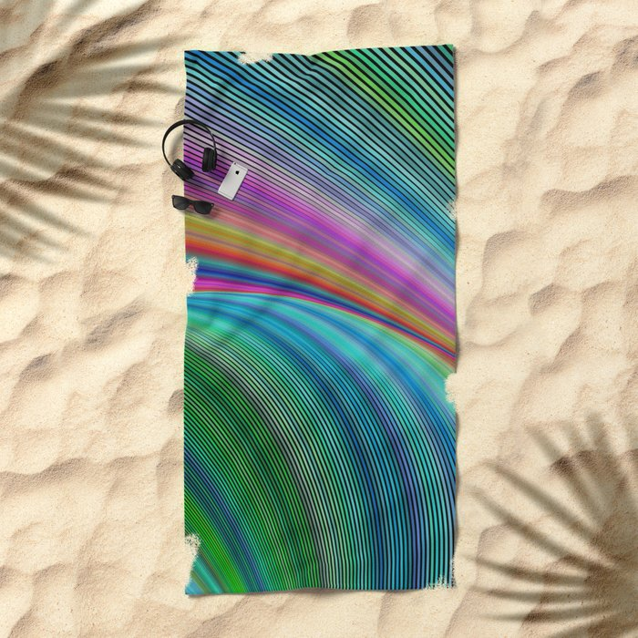 Colorful distortion Beach Towel