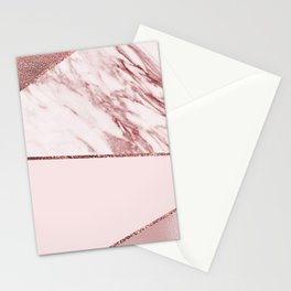 Spliced mixed pinks rose gold marble Stationery Cards