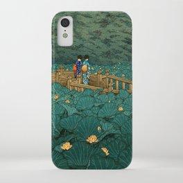 Vintage Japanese Woodblock Print Kawase Hasui Japanese Children Lotus Flowers Garden Wooden Bridge iPhone Case