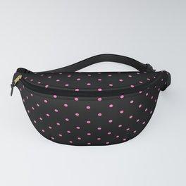 Medium Light Hot Pink on Black Polka Dots Fanny Pack