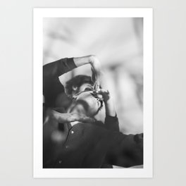 Woman and man, dancers, black and white Art Print
