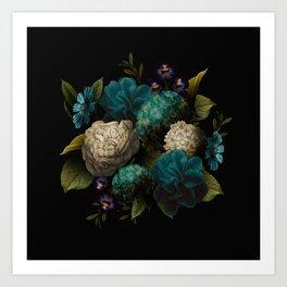 vintage floral bundle teal Art Print