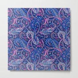 Paisley Pattern Navy Backgorund Pink Highlights Metal Print