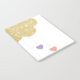 Girls Glitter Cloud Raining Pastel Hearts Notebook