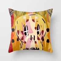 grim fandango Throw Pillows featuring Grim by Jamie Bryan