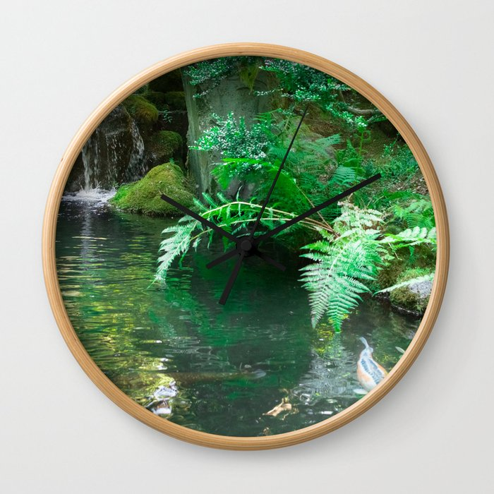 Koi pond in Japanese Zen Garden Wall Clock