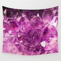 geode Wall Tapestries featuring Amethyst faux geode crystal gemstone photo hipster gem stone mineral specimen photograph geeky geek by iGalaxy