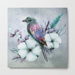 Colorful Bird on Cotton Plant Metal Print