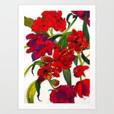 Inky Tulips Art Print