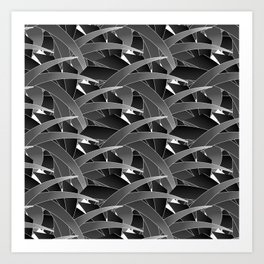 Time to Dream- Black Scatter Bamboo Leaf Art Print