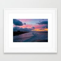 calendars Framed Art Prints featuring Huntington Beach Sunrise 1/31/14 by John Minar Fine Art Photography