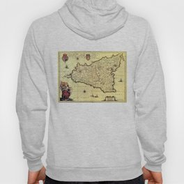 Vintage Map of Sicily Italy (1600s) Hoody