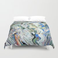 geology Duvet Covers featuring Fluctuating Geology by Christina Stavers