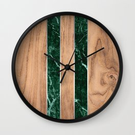 Wood Grain Stripes - Green Granite #901 Wall Clock