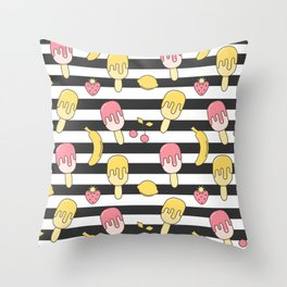 summer striped pattern with ice cream, strawberry, lemon, cherry and banana Throw Pillow