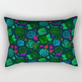 Watercolor Floral Garden in Electric Black Velvet Rectangular Pillow