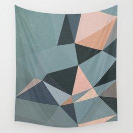 Moody urban Geometry - blue grey peach Wall Tapestry