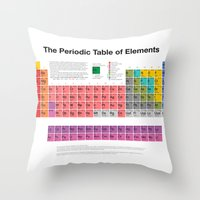 periodic table Throw Pillows featuring The Periodic Table of Elements by moleculestore